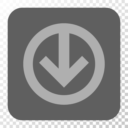 Direction Down rounded button. Vector pictogram style is a flat symbol in a rounded square button, light gray and gray colors, chess transparent background.