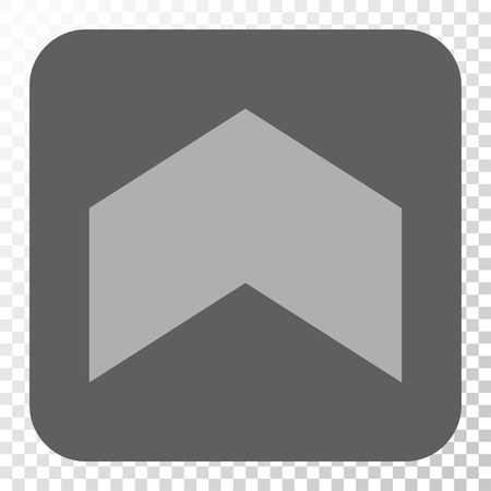 Direction Up interface button. Vector pictogram style is a flat symbol in a rounded square button, light gray and gray colors, chess transparent background.