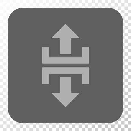 vertical divider: Divide Vertical Direction toolbar button. Vector pictograph style is a flat symbol in a rounded square button, light gray and gray colors, chess transparent background.