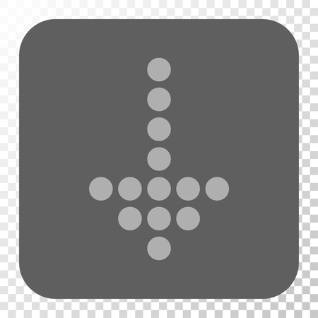 failing: Dotted Arrow Down interface button. Vector pictograph style is a flat symbol on a rounded square button, light gray and gray colors, chess transparent background.