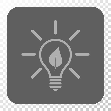 gray bulb: Eco Light Bulb rounded button. Vector pictograph style is a flat symbol on a rounded square button, light gray and gray colors, chess transparent background.