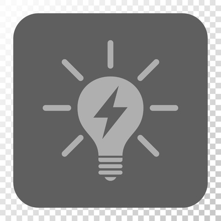gray bulb: Electric Light Bulb rounded icon. Vector pictogram style is a flat symbol on a rounded square button, light gray and gray colors, chess transparent background.