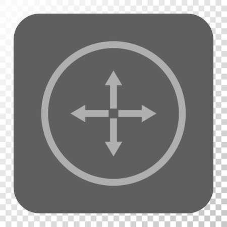 expand: Expand Arrows interface toolbar icon. Vector pictograph style is a flat symbol in a rounded square button, light gray and gray colors, chess transparent background. Illustration
