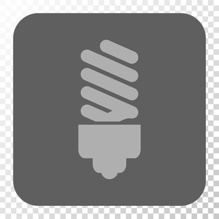 gray bulb: Fluorescent Bulb interface button. Vector pictogram style is a flat symbol in a rounded square button, light gray and gray colors, chess transparent background.