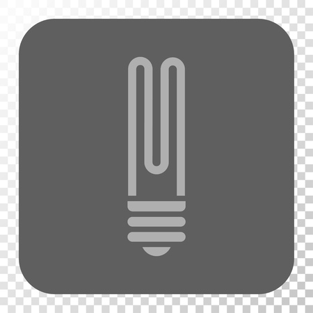 gray bulb: Fluorescent Bulb toolbar icon. Vector pictogram style is a flat symbol on a rounded square button, light gray and gray colors, chess transparent background. Illustration
