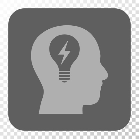 gray bulb: Head Bulb toolbar icon. Vector pictograph style is a flat symbol in a rounded square button, light gray and gray colors, chess transparent background.
