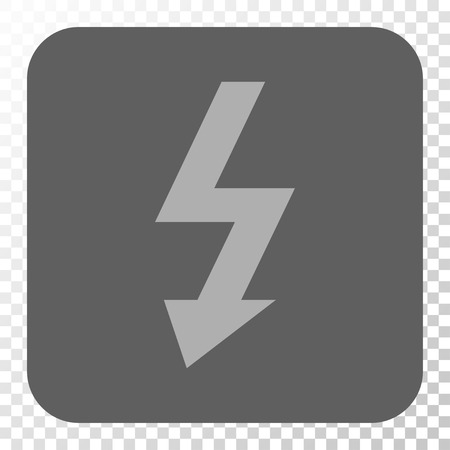 high voltage symbol: High Voltage interface toolbar button. Vector pictogram style is a flat symbol inside a rounded square button, light gray and gray colors, chess transparent background.