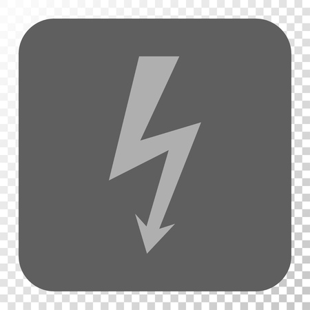 voltage symbol: High Voltage square button. Vector pictogram style is a flat symbol on a rounded square button, light gray and gray colors, chess transparent background.