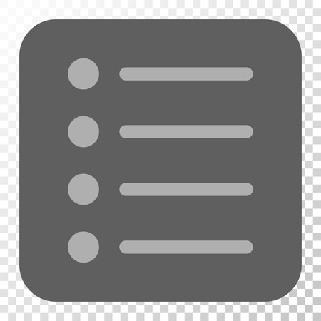 item list: Items interface button. Vector pictograph style is a flat symbol in a rounded square button, light gray and gray colors, chess transparent background.