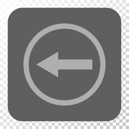 rounded: Left Rounded Arrow rounded icon. Vector pictogram style is a flat symbol on a rounded square button, light gray and gray colors, chess transparent background.