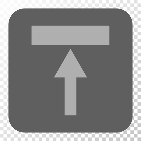top pointer: Move Top square button. Vector pictograph style is a flat symbol in a rounded square button, light gray and gray colors, chess transparent background.