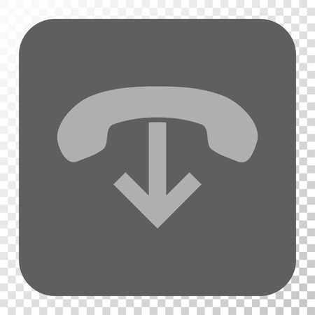 hang up: Phone Hang Up square icon. Vector pictogram style is a flat symbol on a rounded square button, light gray and gray colors, chess transparent background.