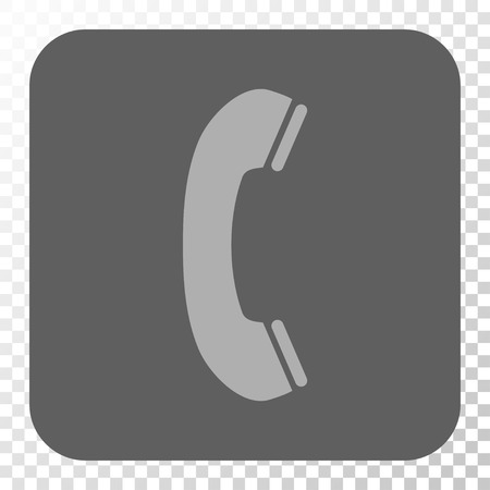 phone receiver: Phone Receiver toolbar button. Vector pictogram style is a flat symbol on a rounded square button, light gray and gray colors, chess transparent background. Illustration