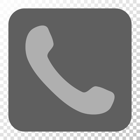 phone receiver: Phone Receiver interface toolbar icon. Vector pictograph style is a flat symbol on a rounded square button, light gray and gray colors, chess transparent background.