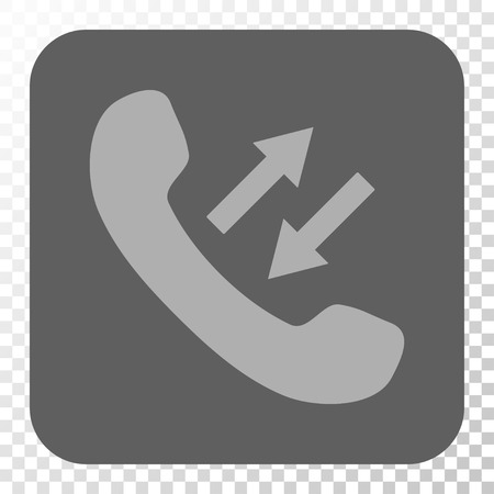 phone talking: Phone Talking toolbar icon. Vector pictograph style is a flat symbol inside a rounded square button, light gray and gray colors, chess transparent background.