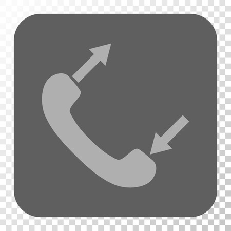 phone talking: Phone Talking rounded icon. Vector pictogram style is a flat symbol in a rounded square button, light gray and gray colors, chess transparent background.