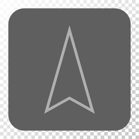 Icône d'interface de pointeur vers le haut. Style de pictogramme de vecteur est un symbole plat sur un bouton carré arrondi, couleurs gris clair et gris, fond transparent d'échecs.