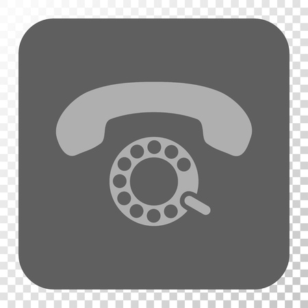 pulsing: Pulse Dialing rounded icon. Vector pictograph style is a flat symbol inside a rounded square button, light gray and gray colors, chess transparent background. Illustration