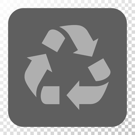 discard: Recycle interface toolbar button. Vector pictograph style is a flat symbol on a rounded square button, light gray and gray colors, chess transparent background.