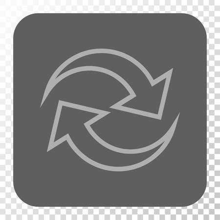 inverse: Refresh Arrows interface toolbar button. Vector pictogram style is a flat symbol inside a rounded square button, light gray and gray colors, chess transparent background.
