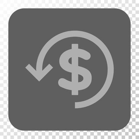 moneyback: Refund square icon. Vector pictograph style is a flat symbol in a rounded square button, light gray and gray colors, chess transparent background. Illustration