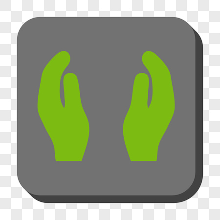 responsibilities: Applause Hands rounded icon. Vector pictogram style is a flat symbol on a rounded square button, light green and gray colors, chess transparent background.