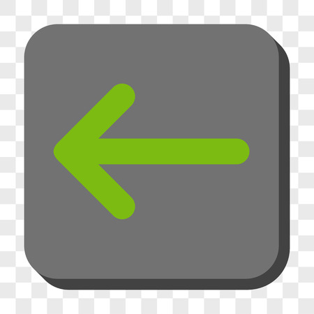 centered: Arrow Left rounded icon. Vector pictogram style is a flat symbol centered in a rounded square button, light green and gray colors, chess transparent background.