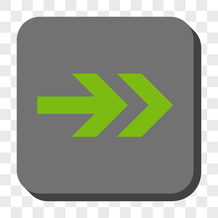 propel: Arrow Right square button. Vector pictograph style is a flat symbol in a rounded square button, light green and gray colors, chess transparent background.
