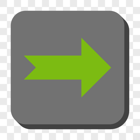 centered: Arrow Right interface toolbar icon. Vector pictogram style is a flat symbol centered in a rounded square button, light green and gray colors, chess transparent background.