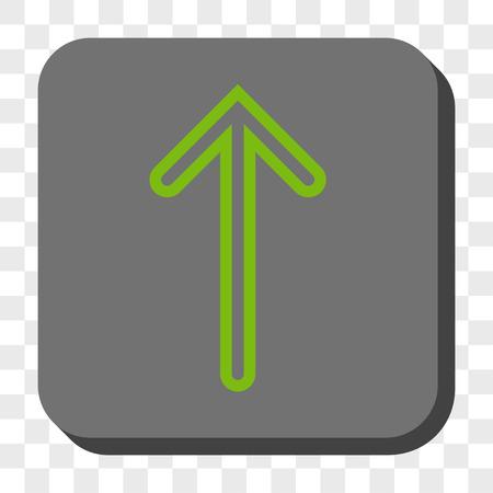 Flèche Up bouton carré. Style Vector pictographique est un symbole à plat sur un bouton carré arrondi, vert et gris clair, échecs fond transparent.