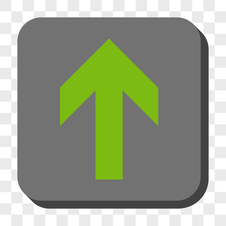 centered: Arrow Up square button. Vector pictograph style is a flat symbol centered in a rounded square button, light green and gray colors, chess transparent background. Illustration