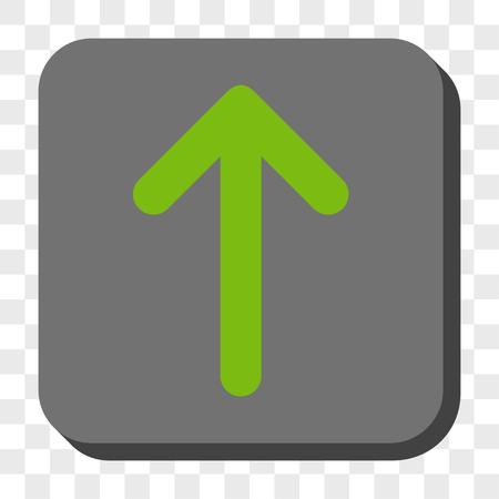 Bouton de la barre d'outils de l'interface flèche vers le haut. Style de pictogramme de vecteur est un symbole plat sur un bouton carré arrondi, couleurs vert clair et gris, fond transparent d'échecs.