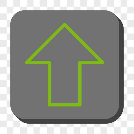 Flèche vers le haut icône carrée. Style de pictogramme de vecteur est un symbole plat centré sur un bouton carré arrondi, couleurs vert clair et gris, fond transparent d'échecs.