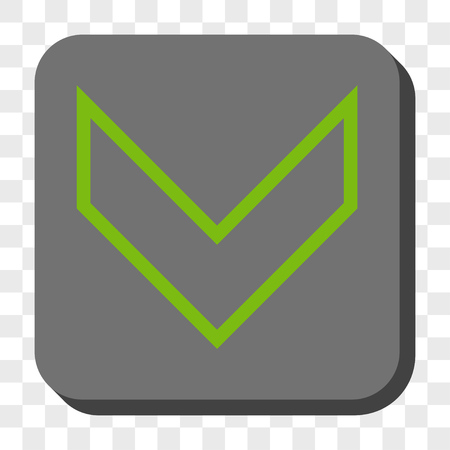 failing: Arrowhead Down interface toolbar icon. Vector pictograph style is a flat symbol on a rounded square button, light green and gray colors, chess transparent background.