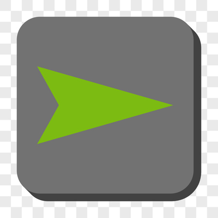 redirect: Arrowhead Right toolbar button. Vector pictogram style is a flat symbol centered in a rounded square button, light green and gray colors, chess transparent background.