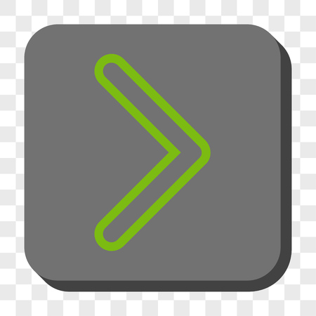 centered: Arrowhead Right rounded button. Vector pictogram style is a flat symbol centered in a rounded square button, light green and gray colors, chess transparent background. Illustration