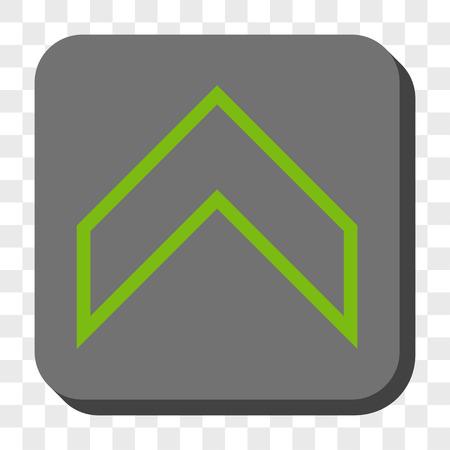 Arrowhead Up barre d'outils d'interface icône. le style vecteur pictogramme est un symbole plat centré sur un bouton carré arrondi, vert et gris clair, échecs fond transparent.