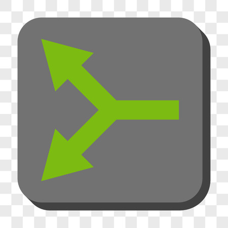 bifurcation: Bifurcation Arrow Left toolbar button. Vector pictogram style is a flat symbol inside a rounded square button, light green and gray colors, chess transparent background.