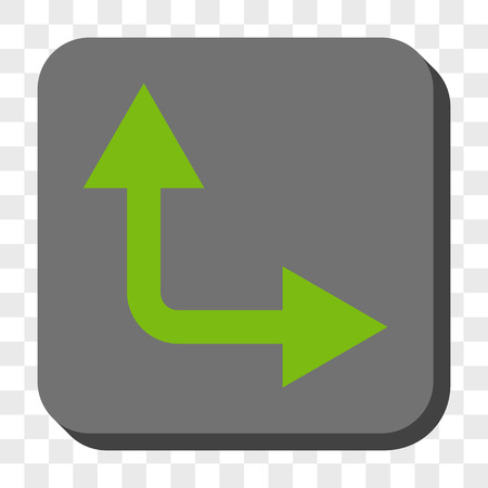 bifurcation: Bifurcation Arrow Right Up square button. Vector pictograph style is a flat symbol inside a rounded square button, light green and gray colors, chess transparent background. Illustration
