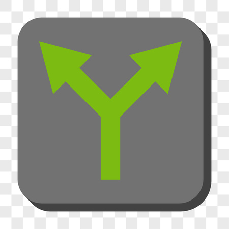 bifurcation: Bifurcation Arrow Up interface toolbar icon. Vector pictograph style is a flat symbol inside a rounded square button, light green and gray colors, chess transparent background.