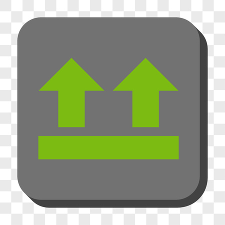 bring up: Bring Up interface icon. Vector pictogram style is a flat symbol in a rounded square button, light green and gray colors, chess transparent background.