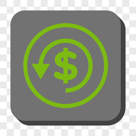 moneyback: Chargeback rounded icon. Vector pictograph style is a flat symbol in a rounded square button, light green and gray colors, chess transparent background.