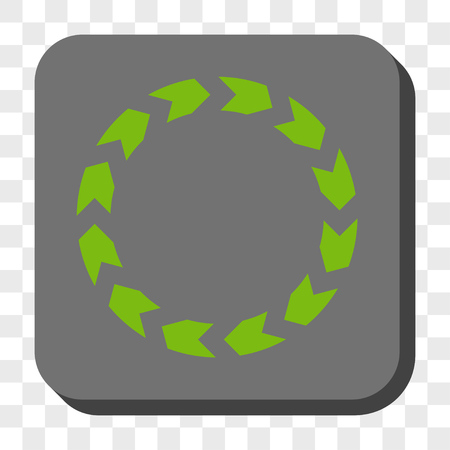 circling: Circulation interface button. Vector pictograph style is a flat symbol on a rounded square button, light green and gray colors, chess transparent background.