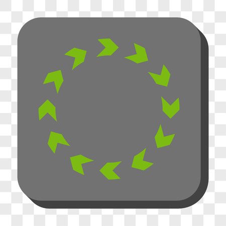 revolve: Circulation rounded button. Vector pictograph style is a flat symbol on a rounded square button, light green and gray colors, chess transparent background. Illustration