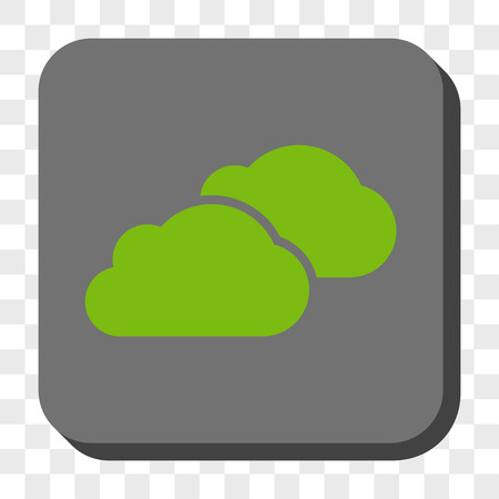 saas: Clouds rounded button. Vector pictograph style is a flat symbol inside a rounded square button, light green and gray colors, chess transparent background.