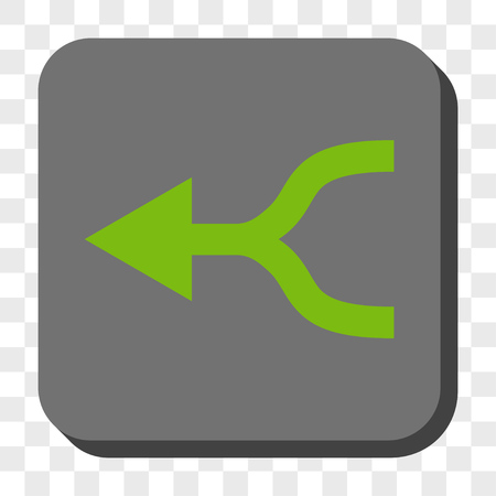 merge together: Combine Arrow Left toolbar button. Vector pictograph style is a flat symbol centered in a rounded square button, light green and gray colors, chess transparent background. Illustration