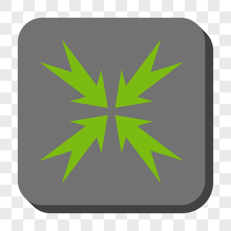 compression: Compression Arrows square icon. Vector pictogram style is a flat symbol on a rounded square button, light green and gray colors, chess transparent background.
