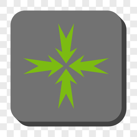 compression: Compression Arrows interface icon. Vector pictogram style is a flat symbol inside a rounded square button, light green and gray colors, chess transparent background.