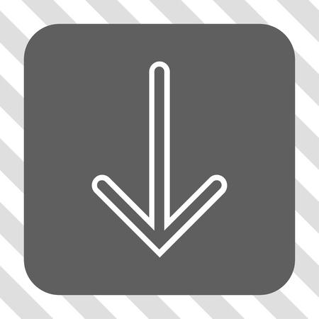 centered: Arrow Down toolbar button. Vector pictograph style is a flat symbol centered in a rounded square button, white and gray colors, hatched diagonally transparent background.