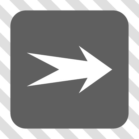 redirect: Arrow Right rounded button. Vector pictogram style is a flat symbol inside a rounded square button, white and gray colors, hatched diagonally transparent background.